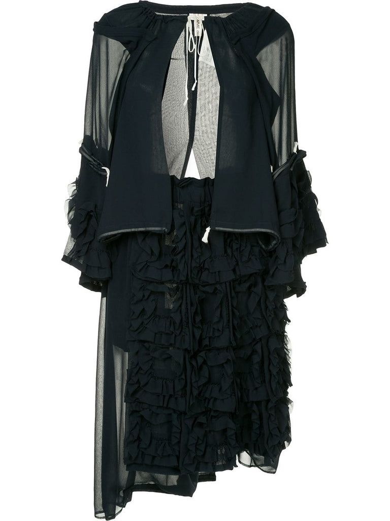 COMME DES GARÇONS layered frilled jacket and dress ensemble