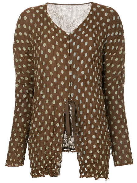 ISSEY MIYAKE crease pleated polka dot tie top
