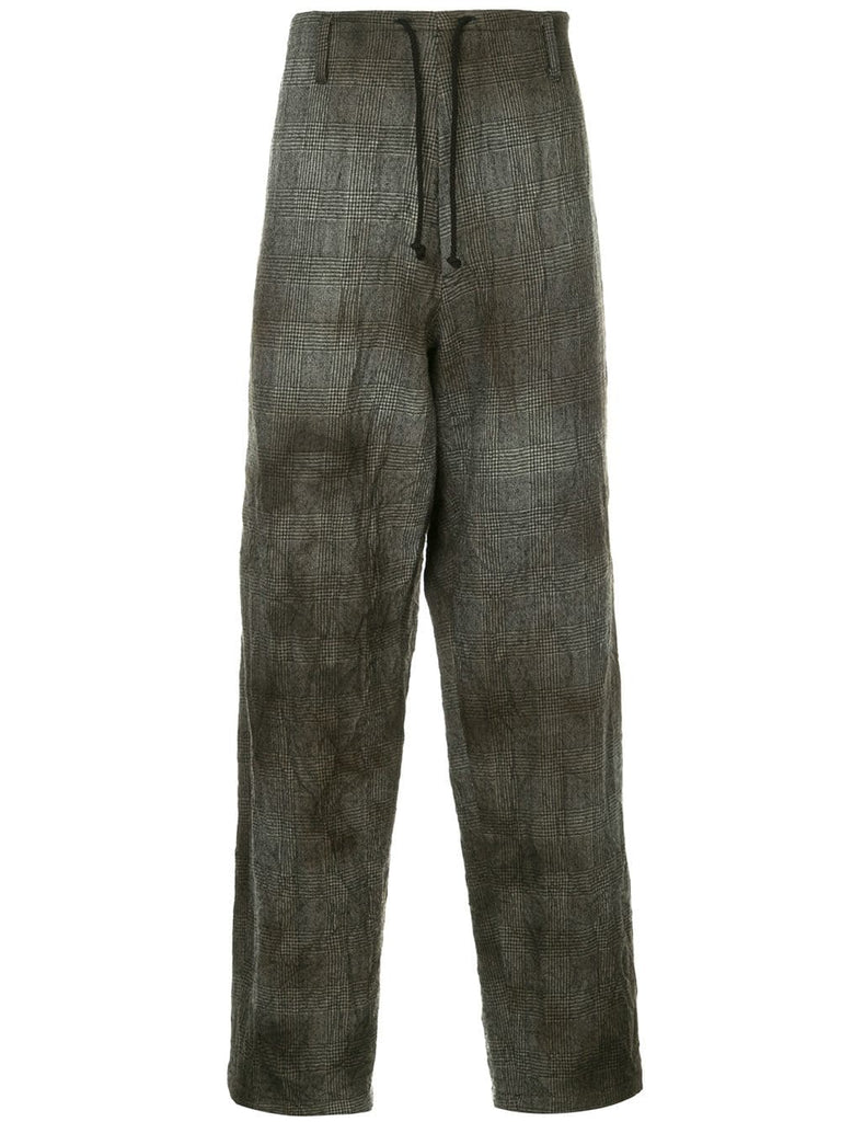 YOHJI YAMAMOTO Pour Homme drawstring houndstooth trousers