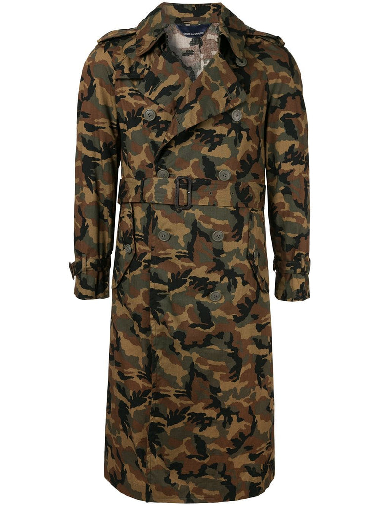 COMME DES GARÇONS double breasted camouflage trenchcoat