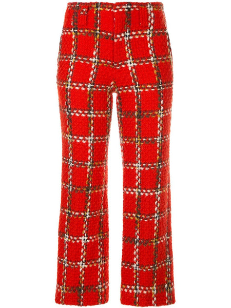 JUNYA WATANABE COMME DES GARÇONS plaid cropped knitted trousers