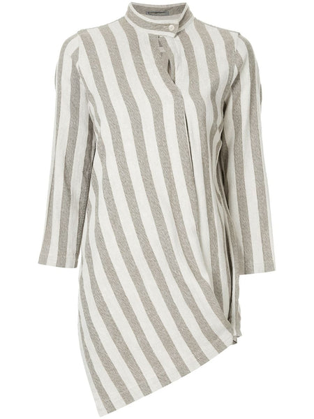 ISSEY MIYAKE band collar striped shirt