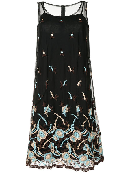 COMME DES GARÇONS floral embroidered sheer dress