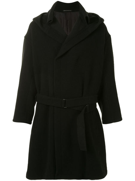 Yohji Yamamoto hooded belted knee-length coat