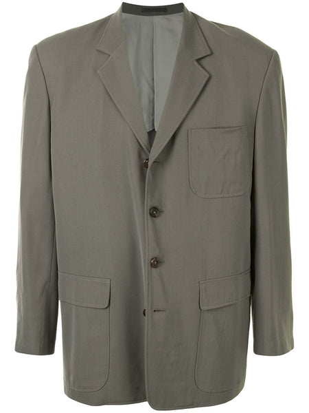 Yohji Yamamoto structured shoulders buttoned blazer