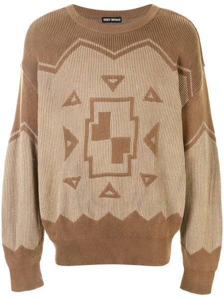 Issey Miyake geometric embroidery jumper