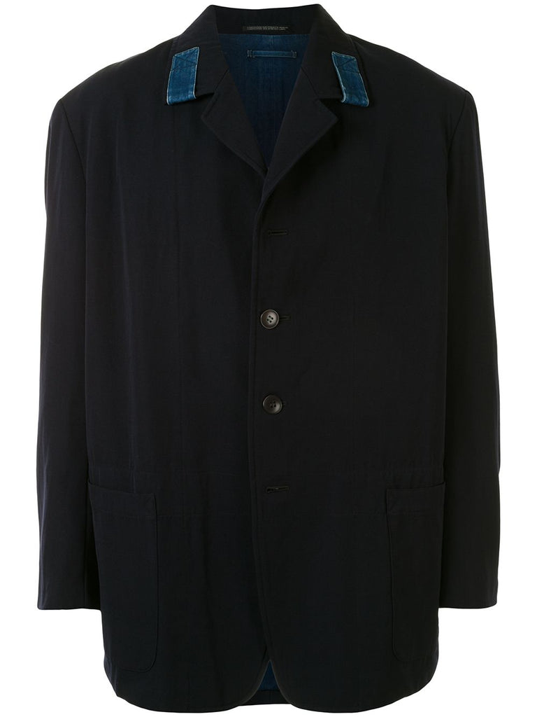 Yohji Yamamoto Pour Homme reversible denim trim single-breasted blazer