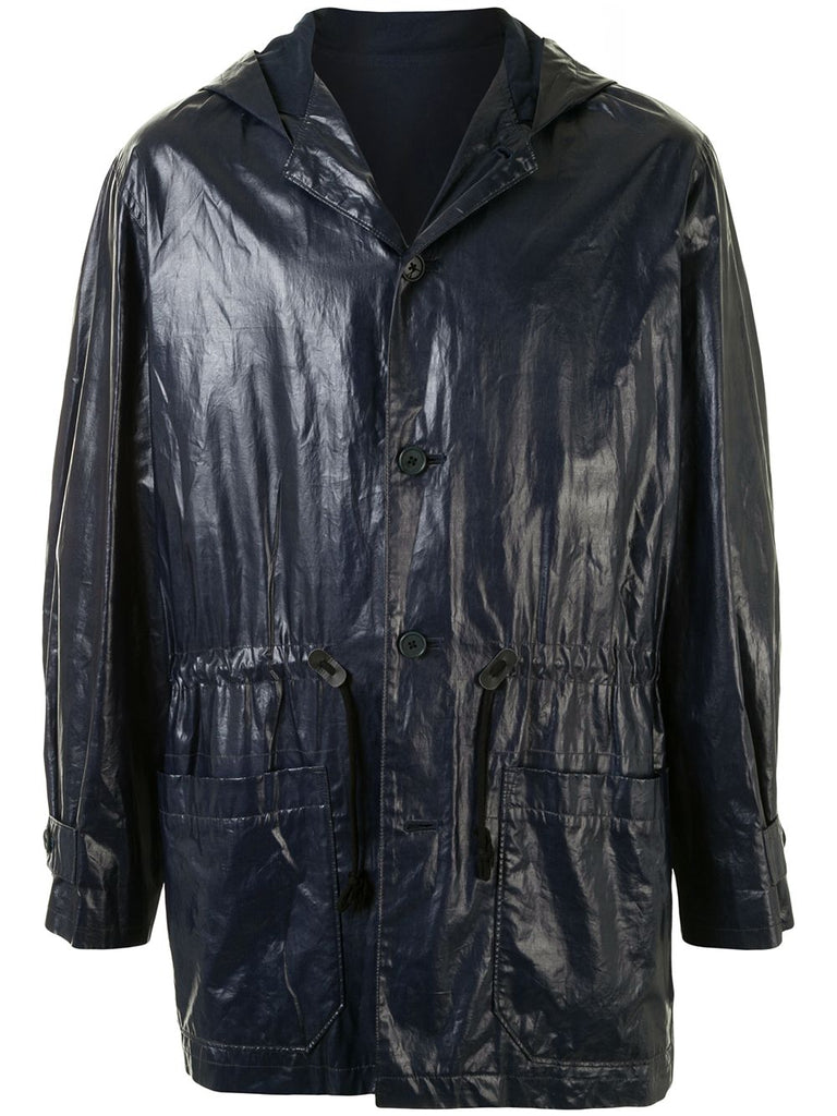 Yohji Yamamoto varnish effect hooded raincoat