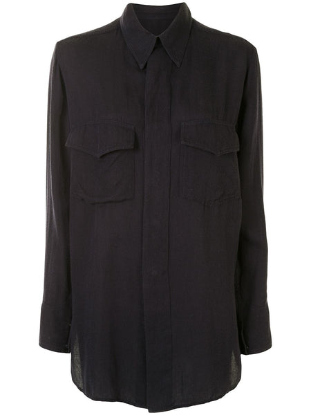 Yohji Yamamoto elongated semi-sheer shirt
