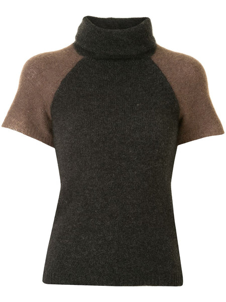 Yohji Yamamoto short-sleeved turtle-neck knitted top