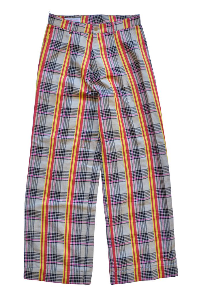WALTER VAN BEIRENDONCK plaid striped pants