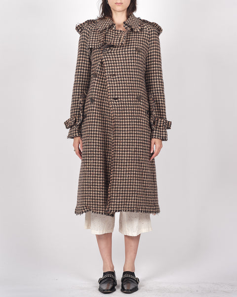 JUNYA WATANABE COMME des GARÇONS houndstooth frayed trench coat