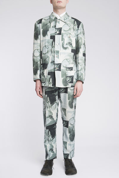 Issey Miyake<br> Linen Abstract Print Suit