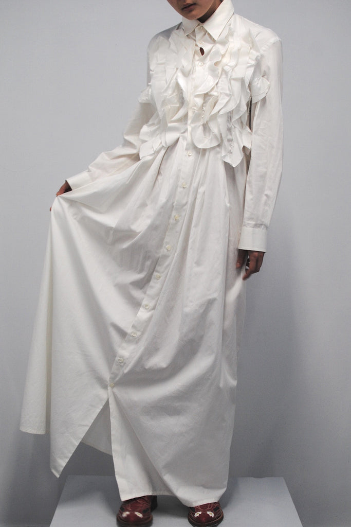 Junya Watanabe <br> Long Ruffled Shirt Dress