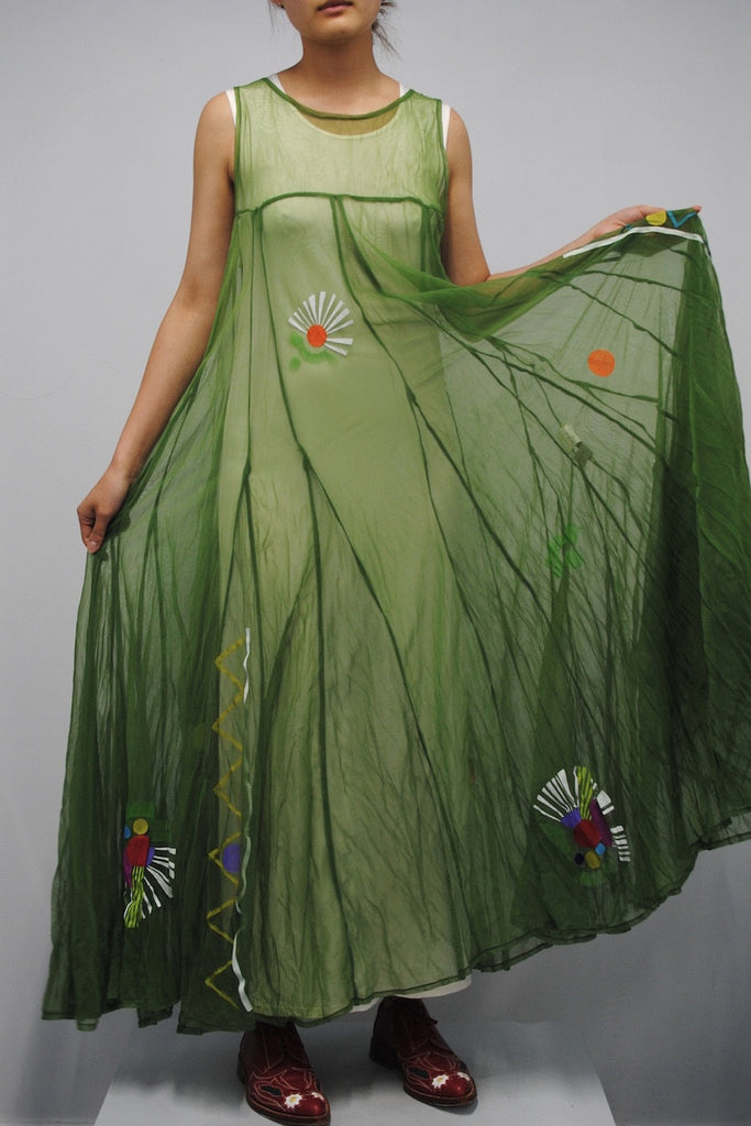 Yohji Yamamoto <br> Sheer Painted Flowers Dress