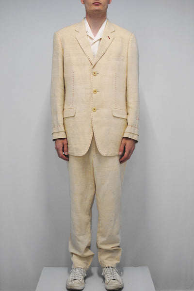 Yohji Yamamoto <br> Silk Suit With Red Stitches