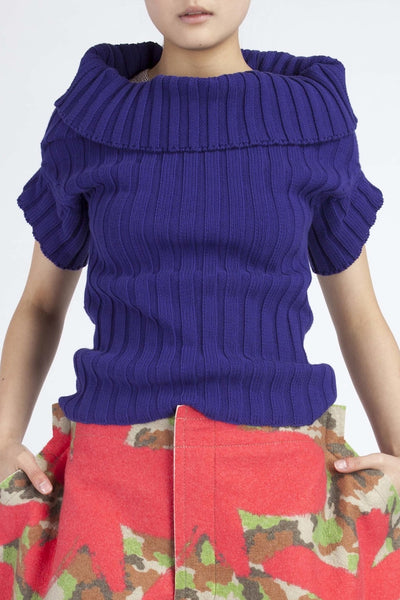 Junya Watanabe <br> Purple ribbed knit top