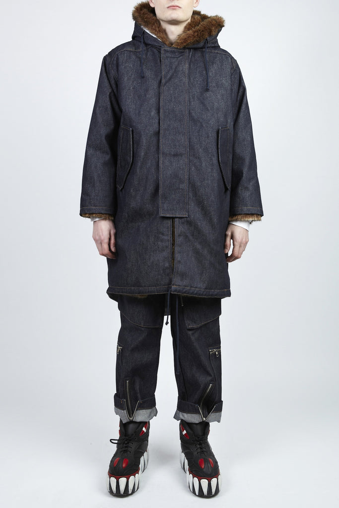 Walter Van Beirendonck <br> Denim Faux Fur Coat