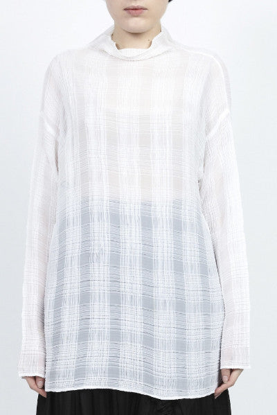 Issey Miyake <br> Long Pleated Check Top