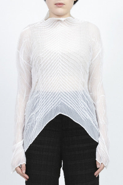 Issey Miyake <br> Fish Bone Pleated Top
