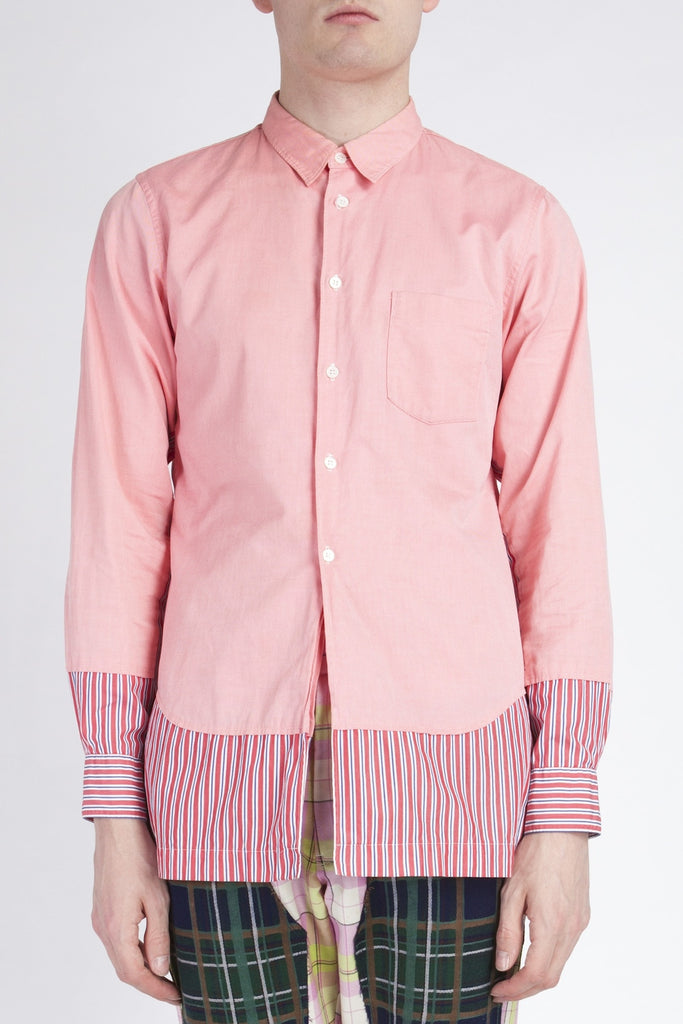 COMME des GARÇONS <br> Pink Shirt With Attached Fabric
