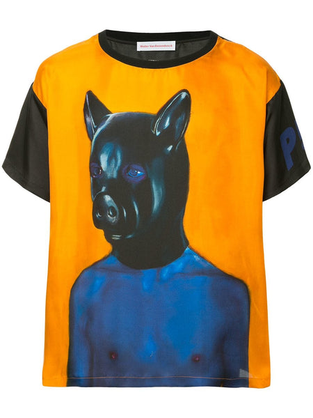 Walter Van Beirendonck painted silk pig top