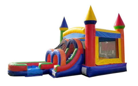 Rainbow Bounce House & Left Slide Combo