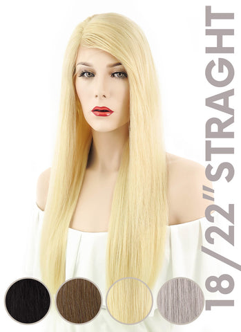 "20"" Long Straight Silver Grey Lace Front Remy Natural Hair Wig HH077"
