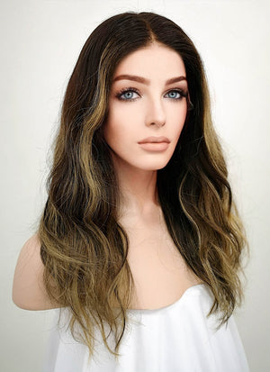"16"" Long Wavy Blonde Mixed Brown Lace Front Remy Natural Hair Wig HG003"