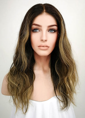 "16"" Long Wavy Blonde Mixed Brown Lace Front Remy Natural Hair Wig HG003 - wifhair"