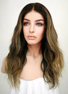 "16"" Medium Wavy Blonde Mixed Brown Lace Front Remy Natural Hair Wig HG003 - wifhair"