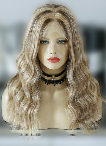 "20"" Long Wavy Grey Blonde With Brown Roots Lace Front Virgin Natural Hair Wig HG020"
