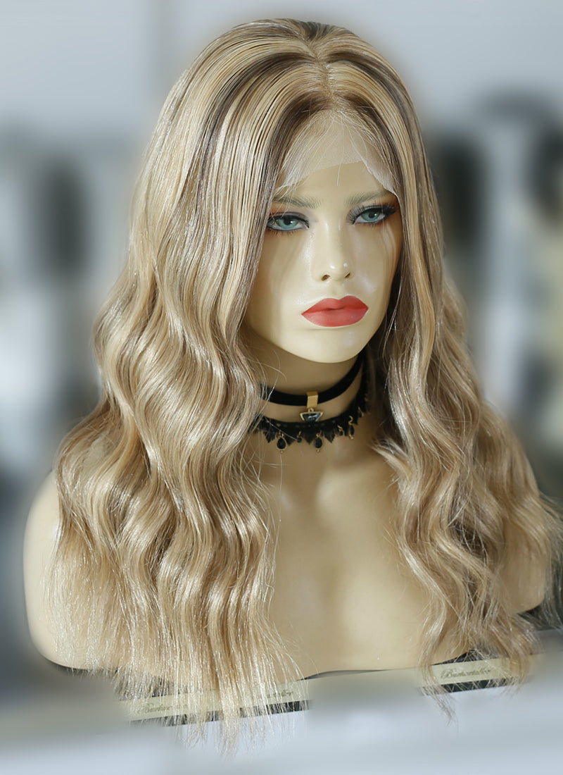 "16""Long Wavy Blonde Mixed Brown Lace Front Virgin Natural Hair Wig HG006 - wifhair"