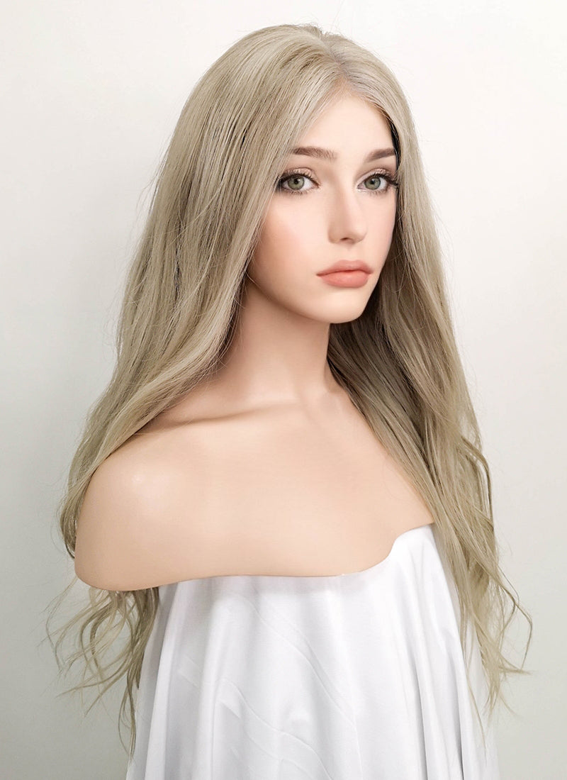 "22"" Long Wavy Mixed Blonde Lace Front Virgin Natural Hair Wig HG009"