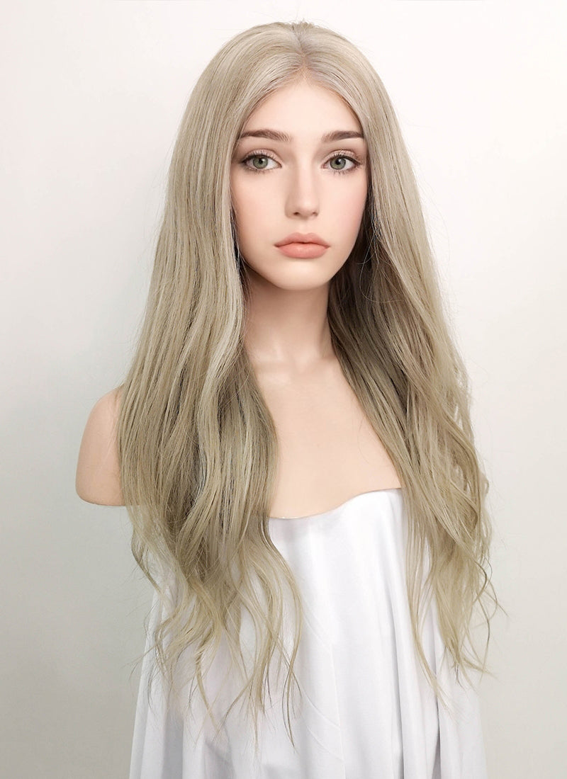"22"" Long Wavy Mixed Blonde Lace Front Virgin Natural Hair Wig HG009 - wifhair"