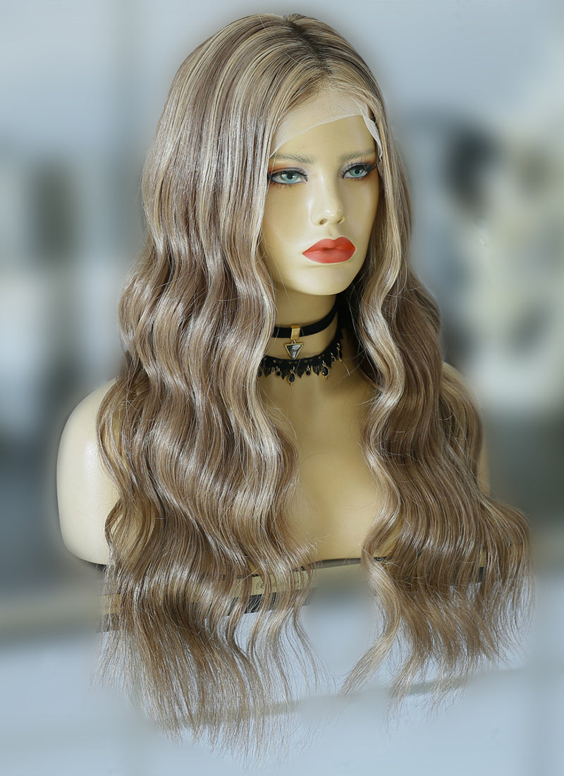 "22"" Long Wavy Blonde Mixed Brown Lace Front Virgin Natural Hair Wig HG010 - wifhair"