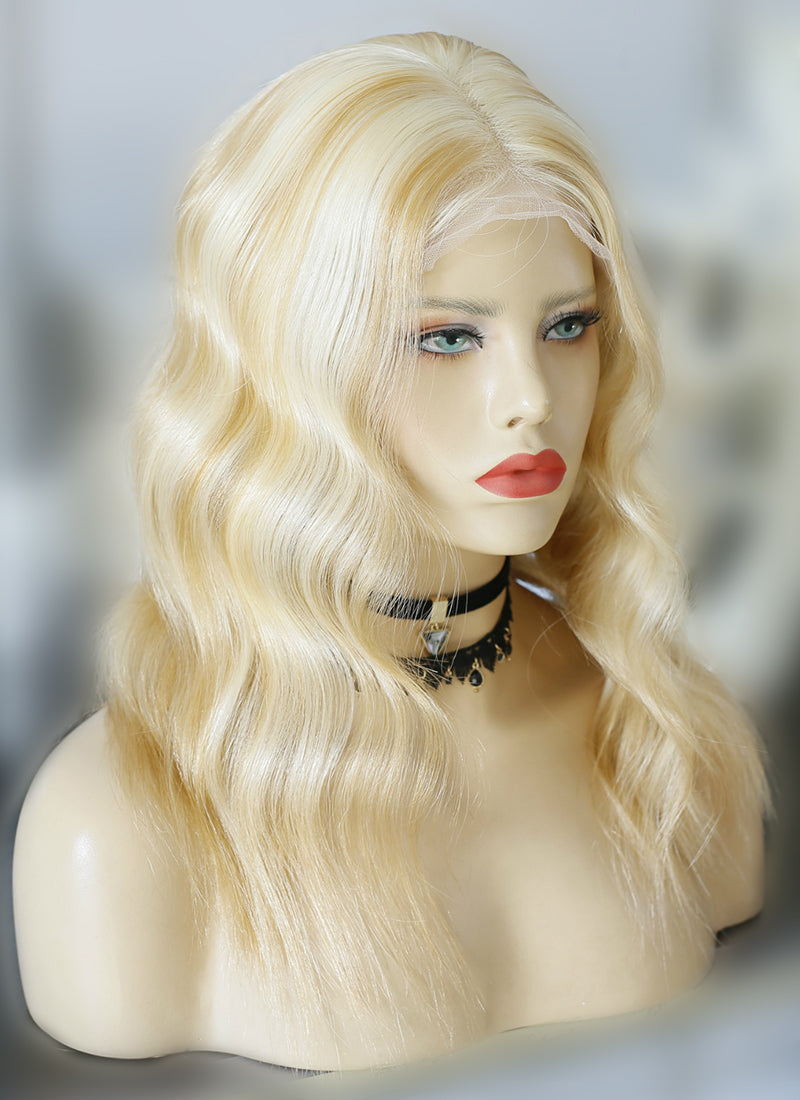 "14"" Long Wavy Mixed Blonde Lace Front Virgin Natural Hair Wig HG011 - wifhair"