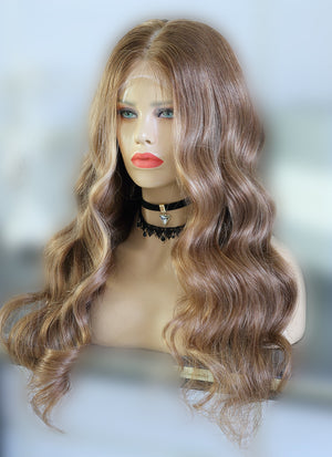 "24"" Long Wavy Blonde Mixed Brown Lace Front Virgin Natural Hair Wig HG014"