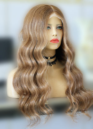 "24"" Long Wavy Blonde Mixed Brown Lace Front Virgin Natural Hair Wig HG015 - wifhair"