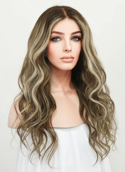 "22"" Long Wavy Blonde Brown With Brown Roots Lace Front Virgin Natural Hair Wig HG022 - wifhair"