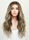"20"" Long Wavy Blonde Mixed Brown Lace Front Virgin Natural Hair Wig HG022 - wifhair"