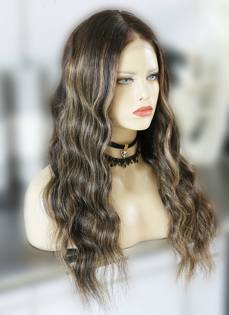 "20"" Long Wavy Blonde Mixed Brown Lace Front Remy Natural Hair Wig HG025"