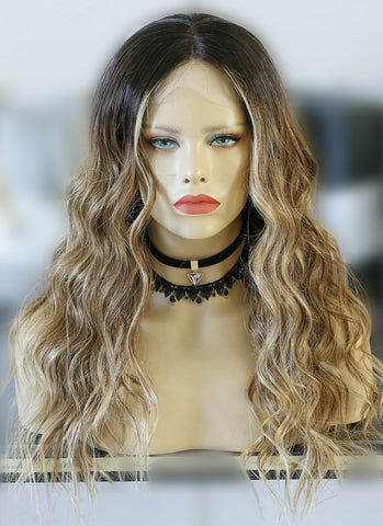 "14"" Medium Straight Ash Blonde Lace Front Brazilian Natural Hair Wig HH140"