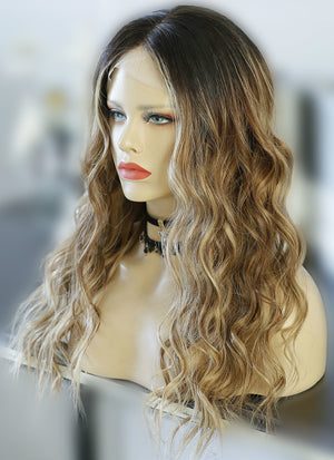 "20"" Long Wavy Blonde Brown With Dark Roots Lace Front Remy Natural Hair Wig HG026"