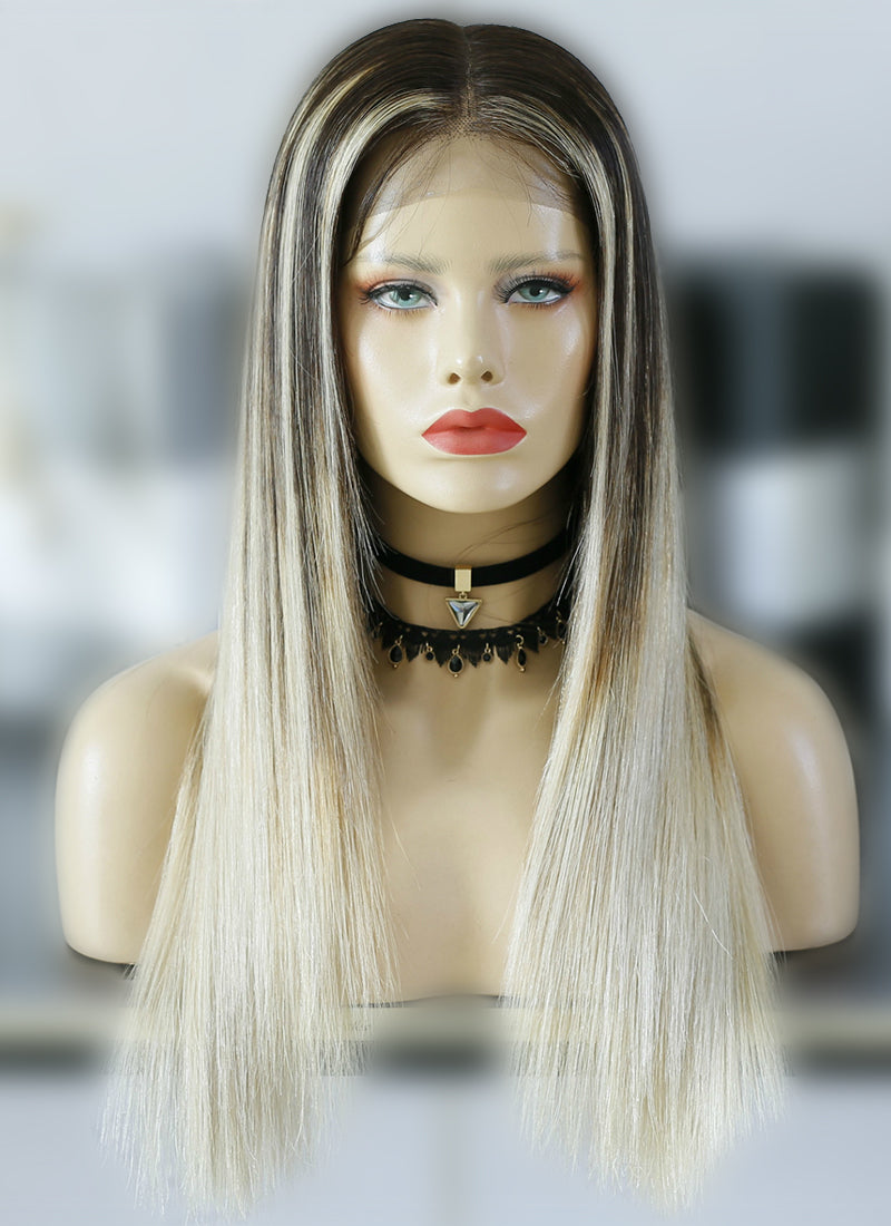 "20"" Long Straight Blonde Mixed Brown Lace Front Virgin Natural Hair Wig HG027 - wifhair"