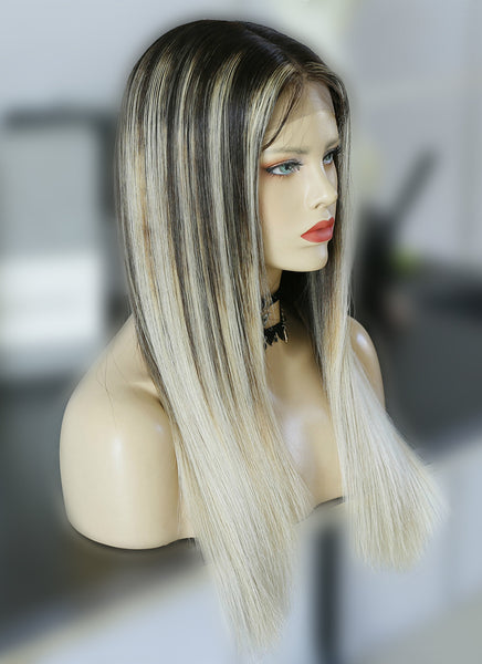 "20"" Long Straight Blonde Mixed Brown Lace Front Virgin Natural Hair Wig HG027"