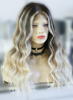 "20"" Long Wavy Blonde Brown With Brown Roots Lace Front Virgin Natural Hair Wig HG028 - wifhair"