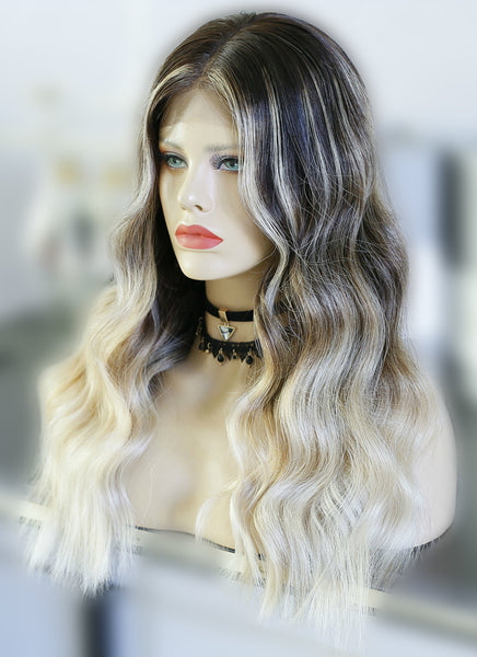 "20"" Long Wavy Blonde Brown With Brown Roots Lace Front Virgin Natural Hair Wig HG028"