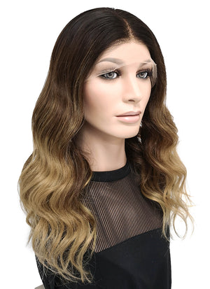 "16"" Long Wavy Blonde Mixed Brown Lace Front Remy Natural Hair Wig HG030 - wifhair"