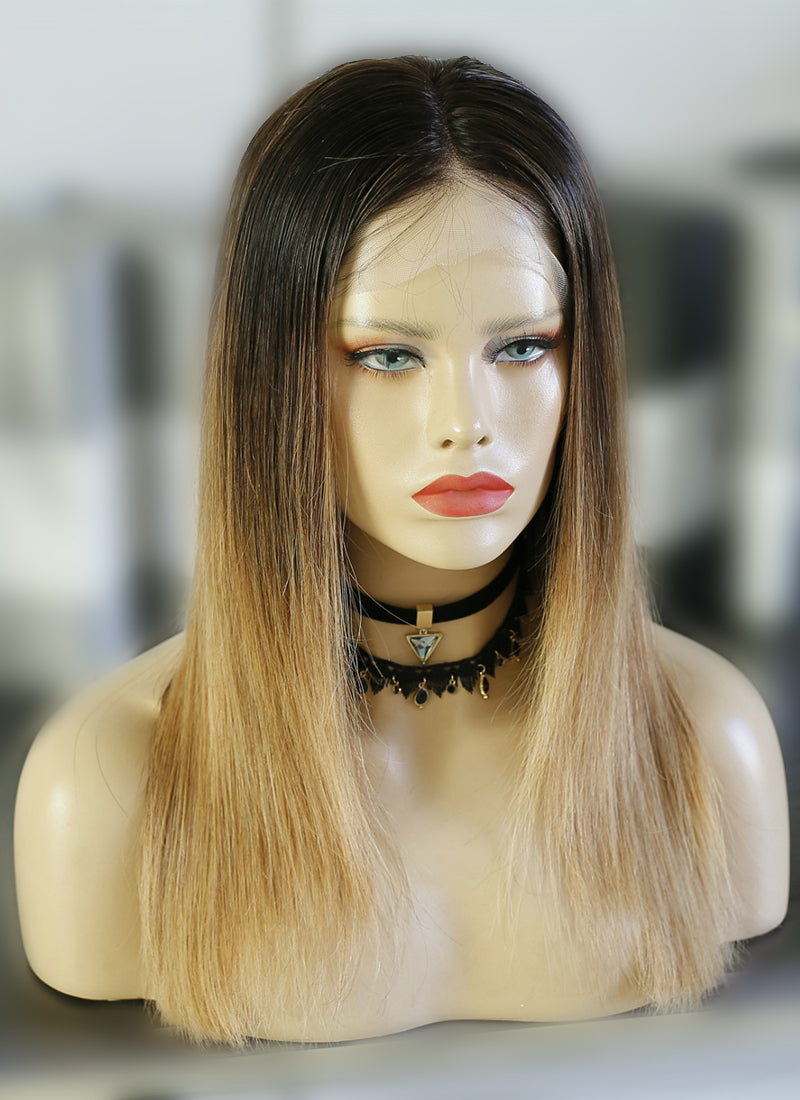 "16"" Medium Straight Mixed Brown Lace Front Remy Natural Hair Wig HG031 - wifhair"